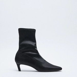 New Zara stretchy kitten heel ankle boots